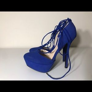 Blue Lace Up Platform Heel